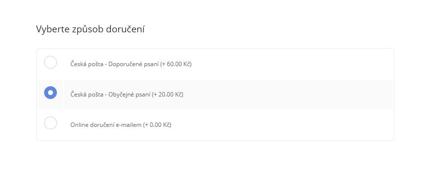 Odeslání voucherů v PDF nebo poštou