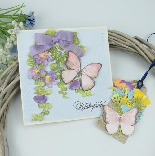 """Dárkové přáníčko """"S motýly"""" č. 2584"""